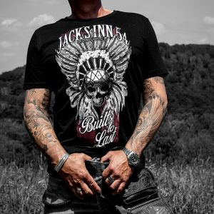 Jack's Inn 54 T-Shirt Indian Skull schwarz